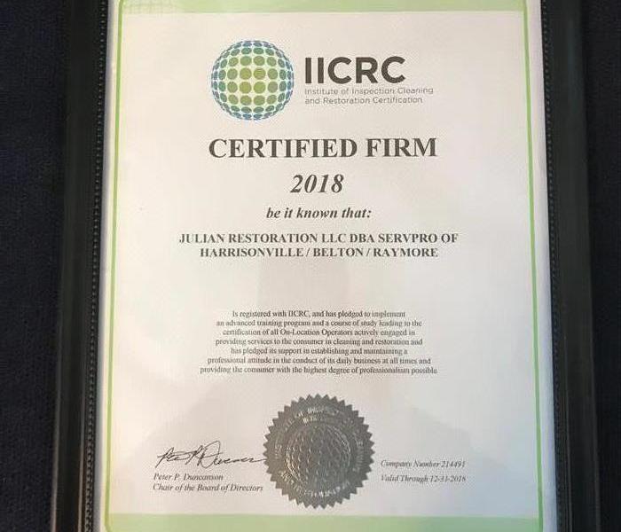 Our Iicrc Certification Servpro Of Harrisonville Belton Raymore